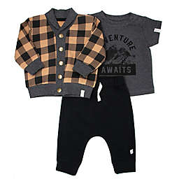 Mini Heroes™ 3-Piece Plaid Cardigan, Top and Jogger Set in Black