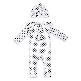 Jessica Simpson 2-Piece Dot Print Ruffle Coverall and Hat Set in Sea Salt