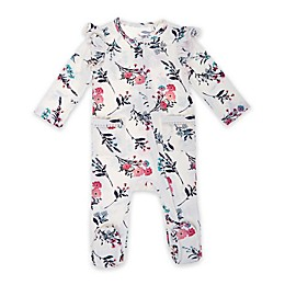 Jessica Simpson Winter Blossom Floral Footie in Ivory