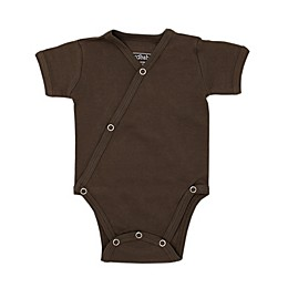 L'ovedbaby® Short Sleeve Kimono Organic Cotton Bodysuit in Bark