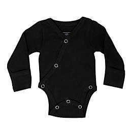 L'ovedbaby® Kimono Organic Cotton Long Sleeve Bodysuit in Black