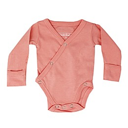 L'ovedbaby® Kimono Organic Cotton Long Sleeve Bodysuit in Coral