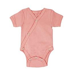 L'ovedbaby® Kimono Organic Cotton Short Sleeve Bodysuit in Coral