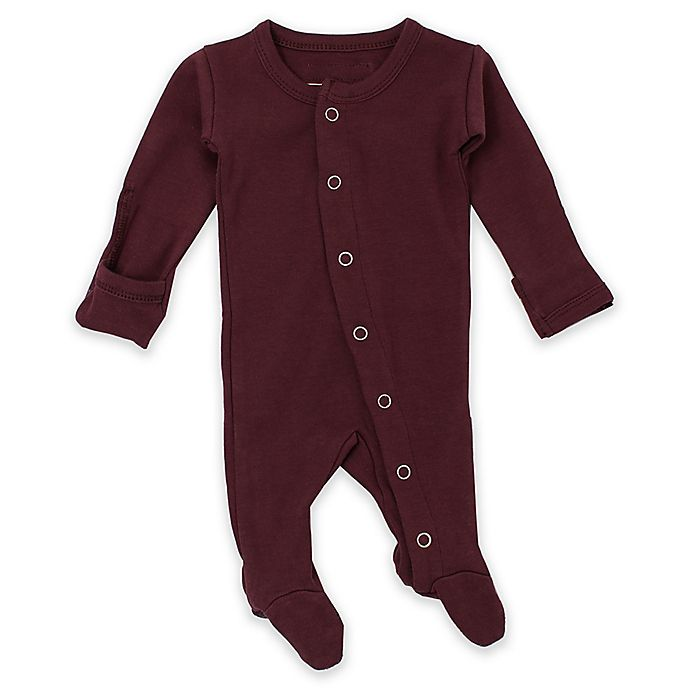 Alternate image 1 for L'ovedbaby® Preemie/Newborn Organic Cotton Footed Overall in Eggplant