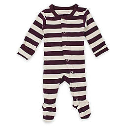 L'ovedbaby® Preemie/Newborn Striped Organic Cotton Footed Overall in Eggplant/Stone