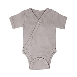L'ovedbaby® Short Sleeve Kimono Organic Cotton Bodysuit in Light Grey