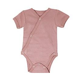 L'ovedbaby® Short Sleeve Kimono Organic Cotton Bodysuit in Mauve
