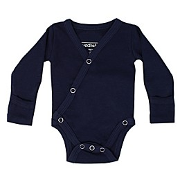 L'ovedbaby® Organic Cotton Long Sleeve Kimono Bodysuit in Navy