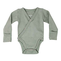 L'ovedbaby® Organic Cotton Long Sleeve Kimono Bodysuit in Seafoam