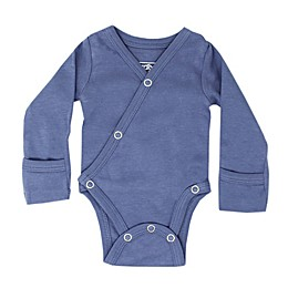 L'ovedbaby® Organic Cotton Long Sleeve Kimono Bodysuit in Slate