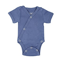 L'ovedbaby® Organic Cotton Short Sleeve Kimono Bodysuit in Slate