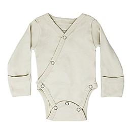 L'ovedbaby® Long Sleeve Organic Cotton Kimono Bodysuit in Stone