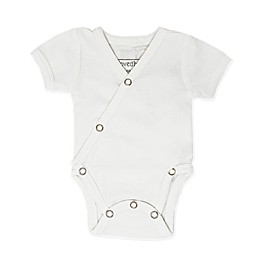 L'ovedbaby® Organic Cotton Short Sleeve Kimono Bodysuit in White