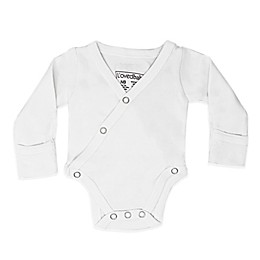 L'ovedbaby® Organic Cotton  Long Sleeve Kimono Bodysuit in White