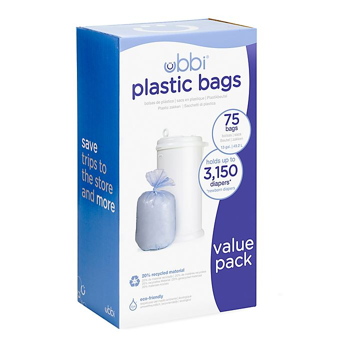 Alternate image 1 for Ubbi® Diaper Pail 75-Count Value Pack Plastic Bags