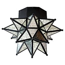 Global Moravian Antique Star Flush Mout Light