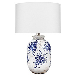 Ruth Table Lamp in White with Cotton Shade