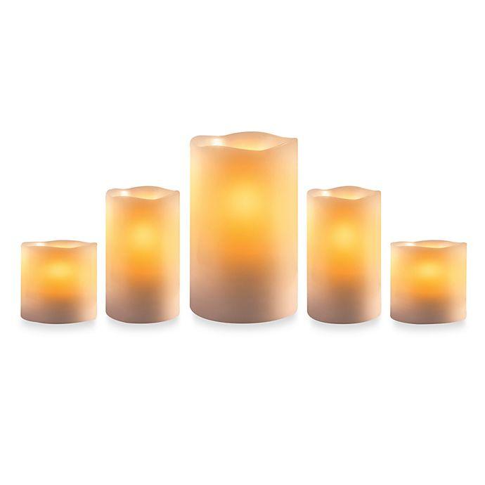 Alternate image 1 for Loft Living Flameless LED Pillar Candles (Set of 5)