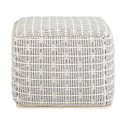 Simpli Home™ Noreen Square Pouf in Light Blue/White