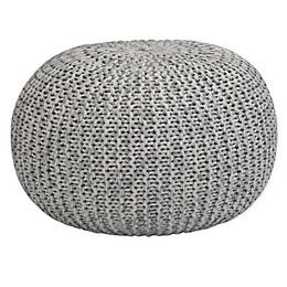 Simpli Home™ Nikki Hand Knit Round Pouf in Grey