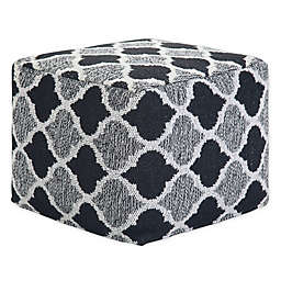 Simpli Home™ Currie Square Pouf in Black/Grey/White