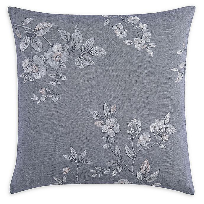 Alternate image 1 for Charisma® Riva Floral Embroidered Square Throw Pillow in Grey