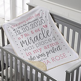 Baby Story Personalized 30-Inch x 40-Inch Baby Sherpa Blanket