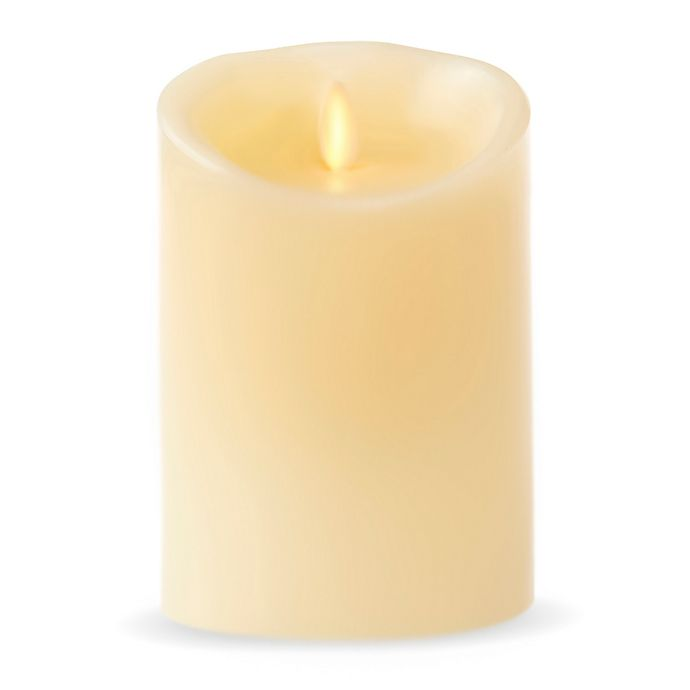 Alternate image 1 for Luminara® Real-Flame Effect 5-Inch Pillar Candle in Ivory