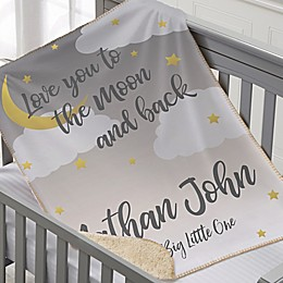 Over The Moon Personalized 30-Inch x 40-Inch Sherpa Baby Blanket