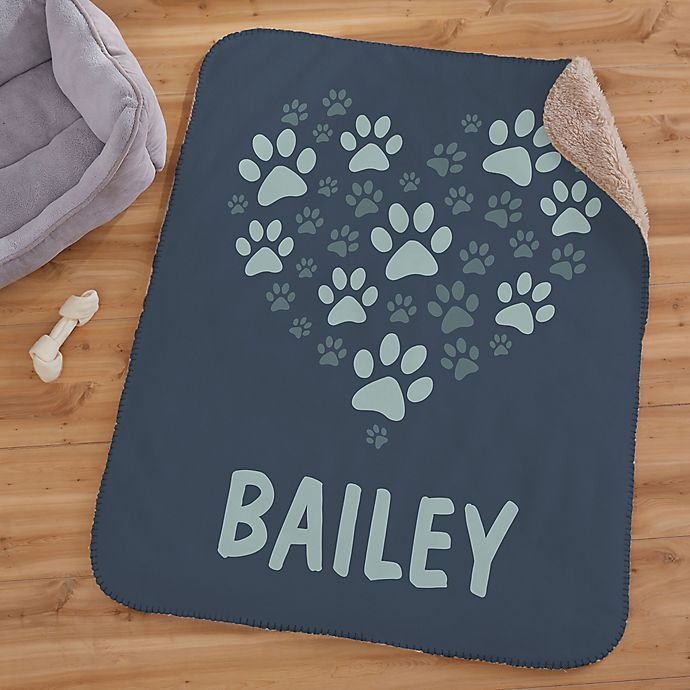 Alternate image 1 for Paws On My Heart Personalized 30-Inch x 40-Inch Sherpa Blanket