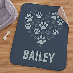 Paws On My Heart Personalized 30-Inch x 40-Inch Sherpa Blanket