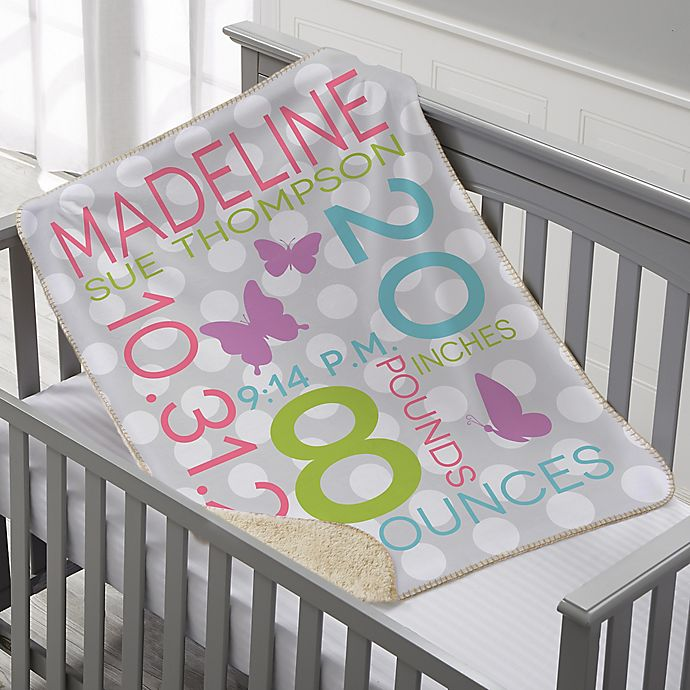 Alternate image 1 for Sweet Baby Personalized 30-Inch x 40-Inch Sherpa Baby Blanket Collection