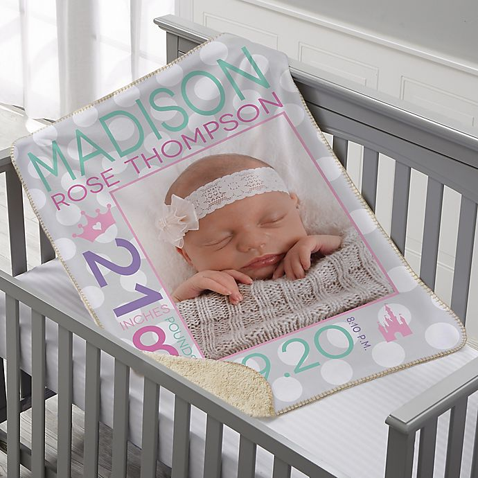 Alternate image 1 for Sweet Baby Personalized 30-Inch x 40-Inch Sherpa Photo Blanket Collection