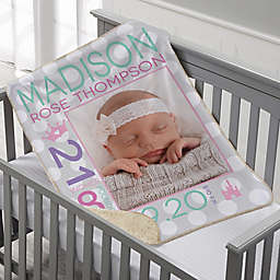 Sweet Baby Personalized 30-Inch x 40-Inch Sherpa Photo Blanket Collection