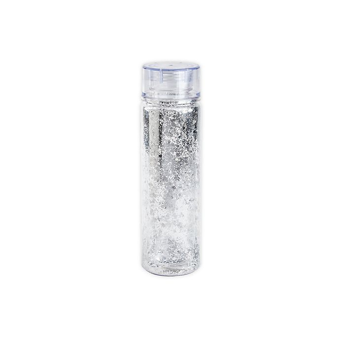 Alternate image 1 for Manna™ 20 oz. Glitter Water Bottle with Lid in Silver