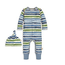 Burt's Bees Baby® Size 9M 2-Piece Watercolor Fields Stripe Coverall and Hat Set