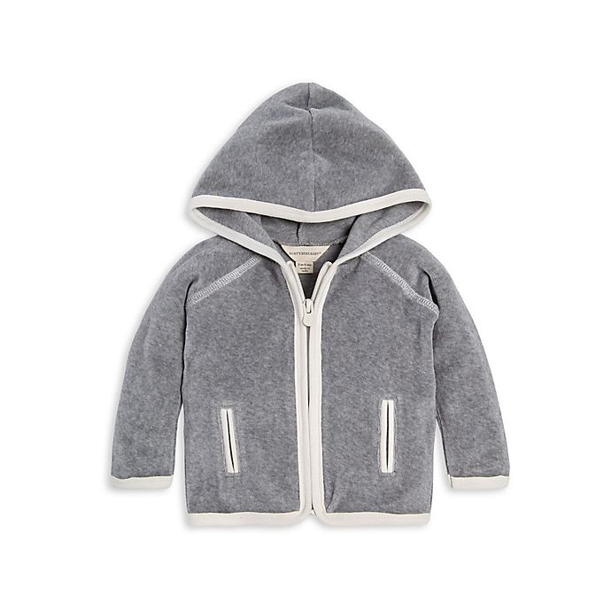 Alternate image 1 for Burt's Bees Baby® Hooded Velour Organic Cotton Jacket in Grey