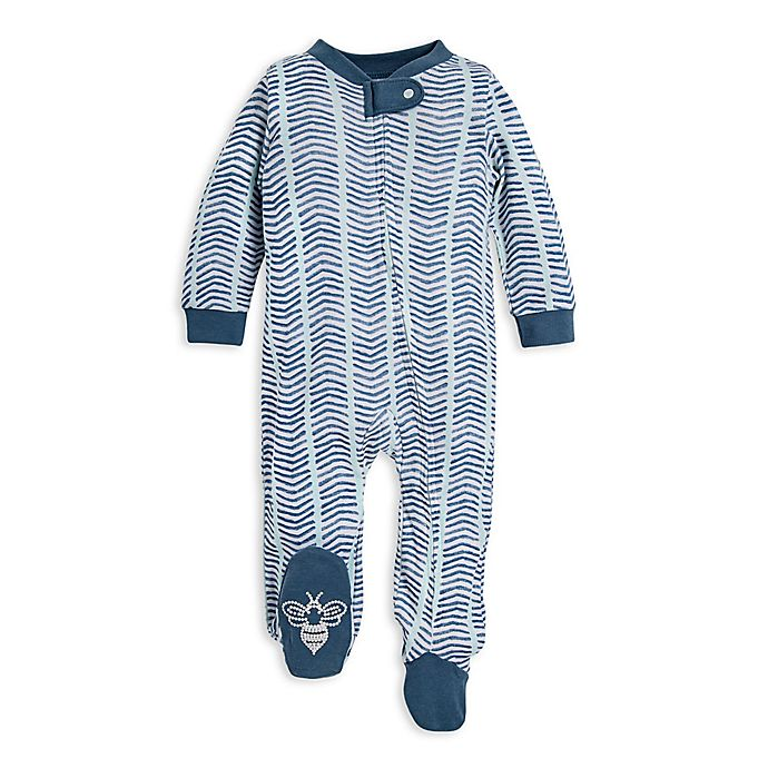 Alternate image 1 for Burt's Bees Baby® Watercolor Chevron Organic Cotton Sleep and Play in Blue