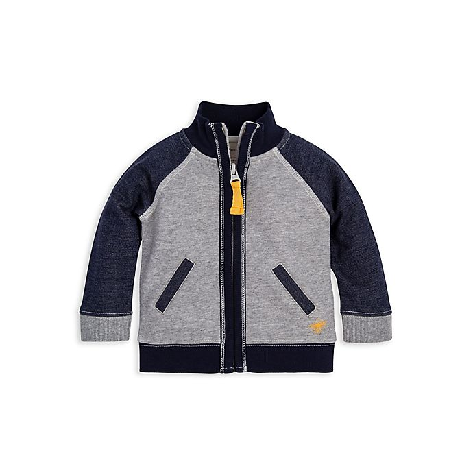 Alternate image 1 for Burt's Bees Baby® Organic Cotton Terry Jacket in Navy/Grey