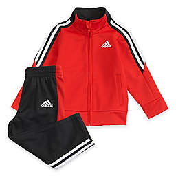 adidas® 2-Piece Tricot Tracksuit Jacket and Pant Set in Red
