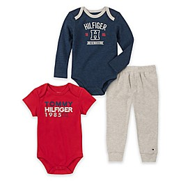 Tommy Hilfiger® 3-Piece Logo Bodysuits and Pant Set in Navy