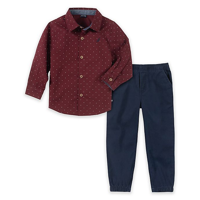 Alternate image 1 for Nautica® 2-Piece Woven Shirt and Pant Set in Burgundy/Navy