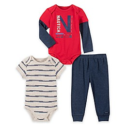 Nautica® 3-Piece Logo Bodysuits and Pant Set in Red