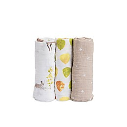 Little Unicorn Deer Muslin Swaddle Blankets (Set of 3)