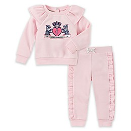 Juicy Couture® 2-Piece Ruffled Top and Jogger Set in Pink