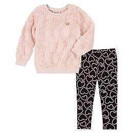 Juicy Couture® 2-Piece Faux Fur Top and Legging Set in Pink