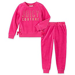 Juicy Couture® 2-Piece Satin Tie Velour Top and Pant Set in Fuchsia