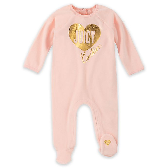 Alternate image 1 for Juicy Couture® Heart Footie in Blush
