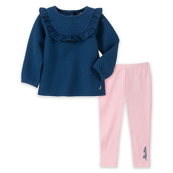 Alternate image 1 for Nautica® 2-Piece Ruffle Tunic and Legging Set