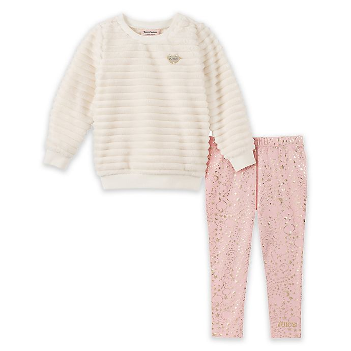 Alternate image 1 for Juicy Couture® 2-Piece Faux Fur Top and Legging Set